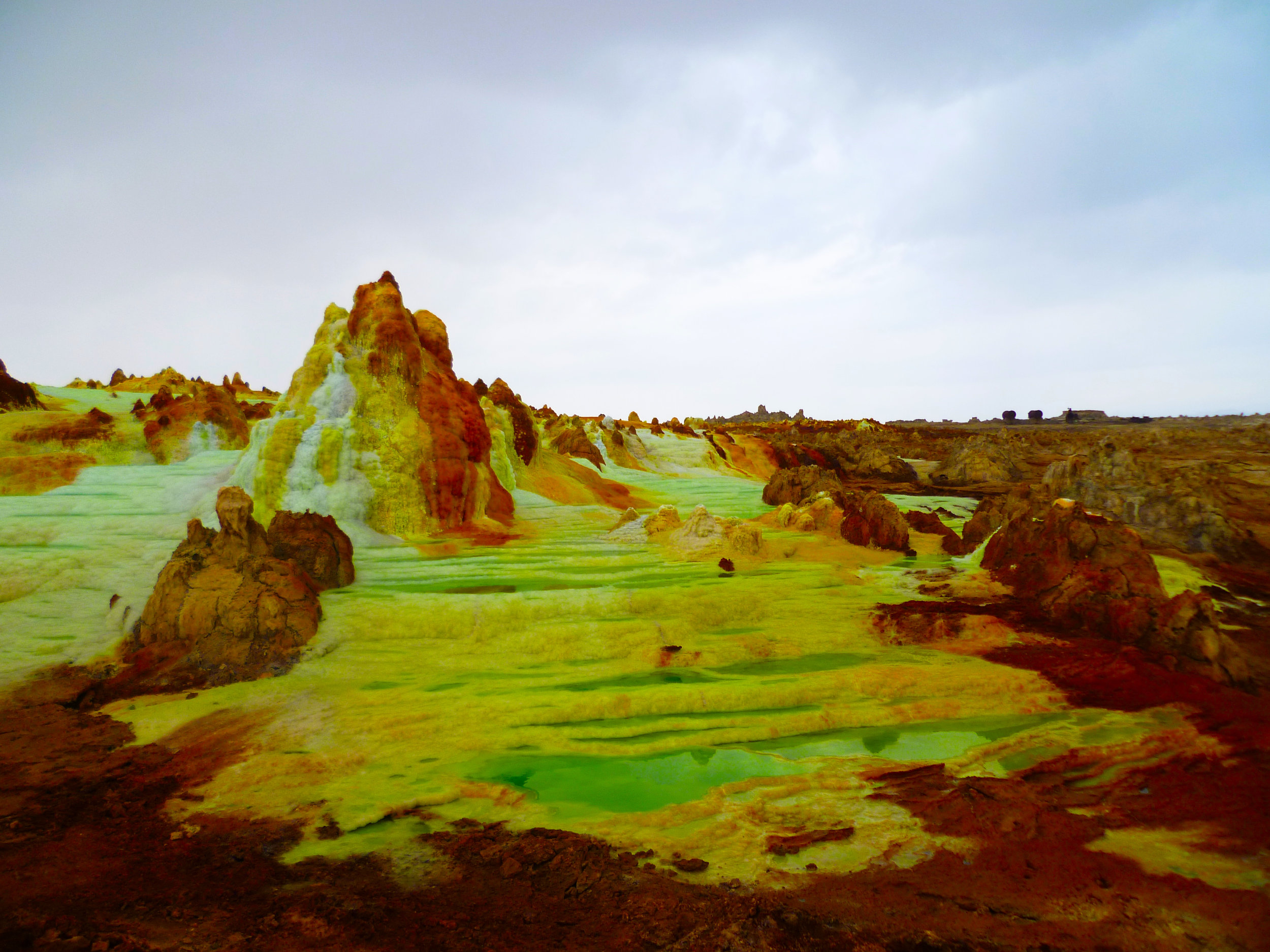 Sulpherous yellow mountains dominate the landscape...