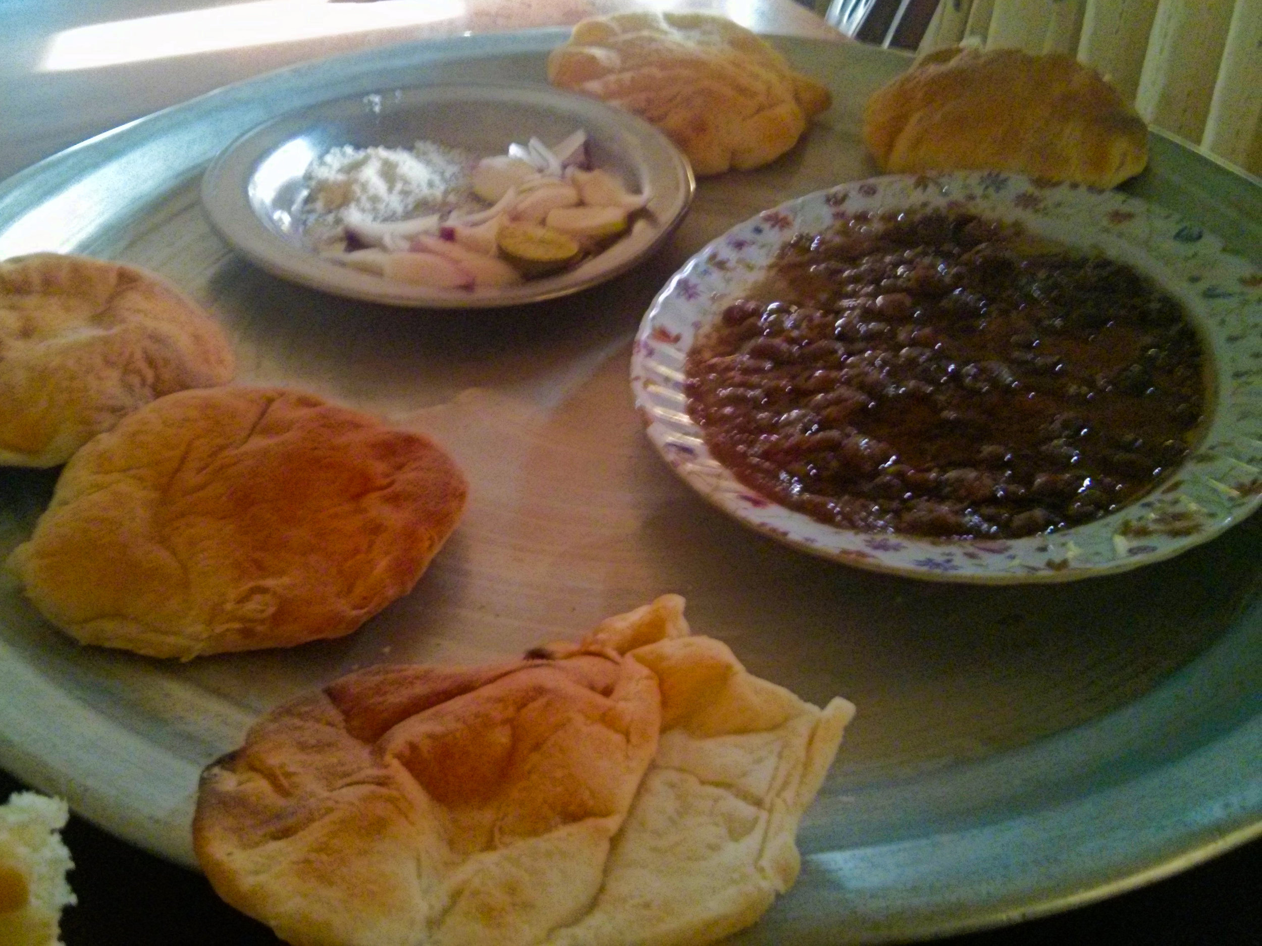 Delicious Sudanese food - never have beans tasted so good...