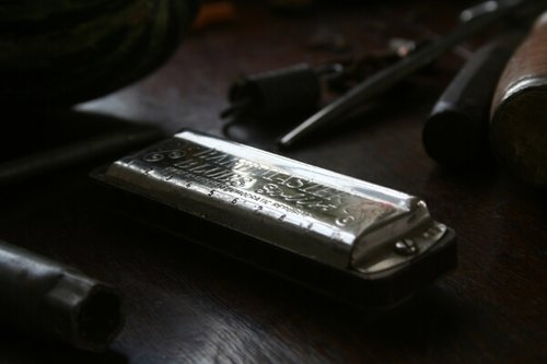 Production shot from   Filipski Shed .  My fathers harmonica.