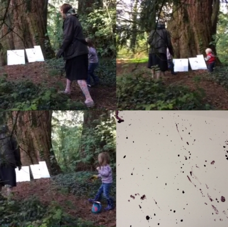 Culminating in a performative excercise in ink covered Pine Cone flinging underneith the giant Redwood tree in Fordham ornamental wood.