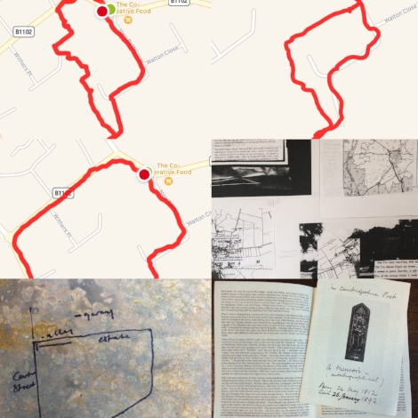 'Mapping a way out of the back yard'.  A series of walks around the village of Fordham, including members of the public and interested parties, mapping circular routes with a GPS tracking device.