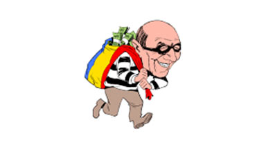 cartoon of a thief stealing a bag of money