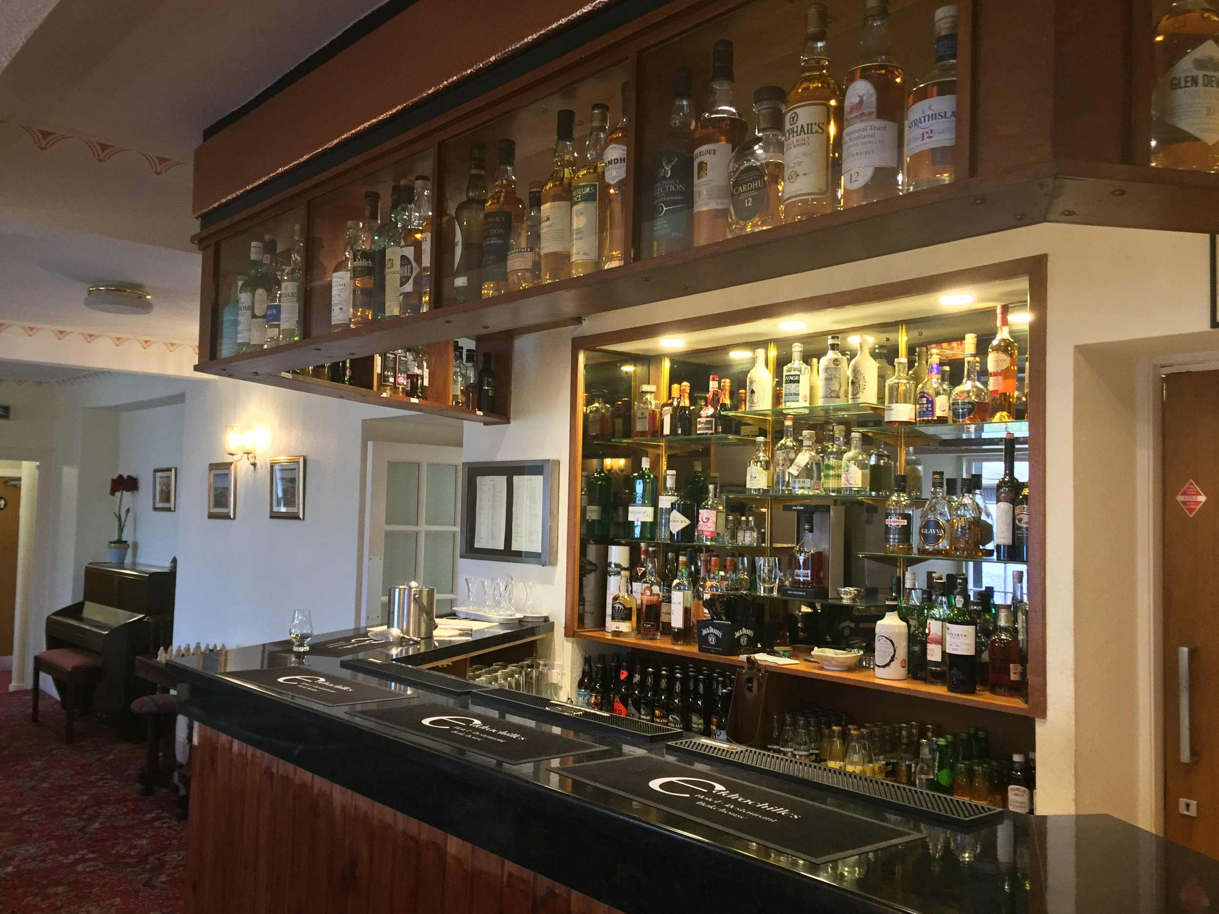 Lounge Bar, Over 60 whiskies, and a selection of Scottish craft gins and beers