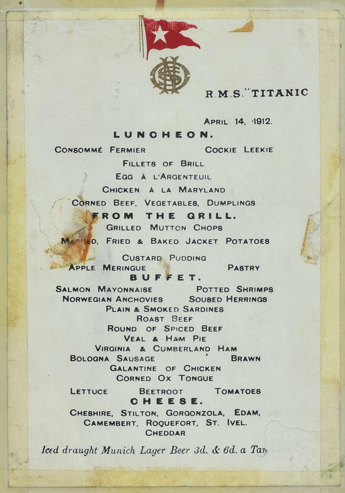 Titanic Menu Auction