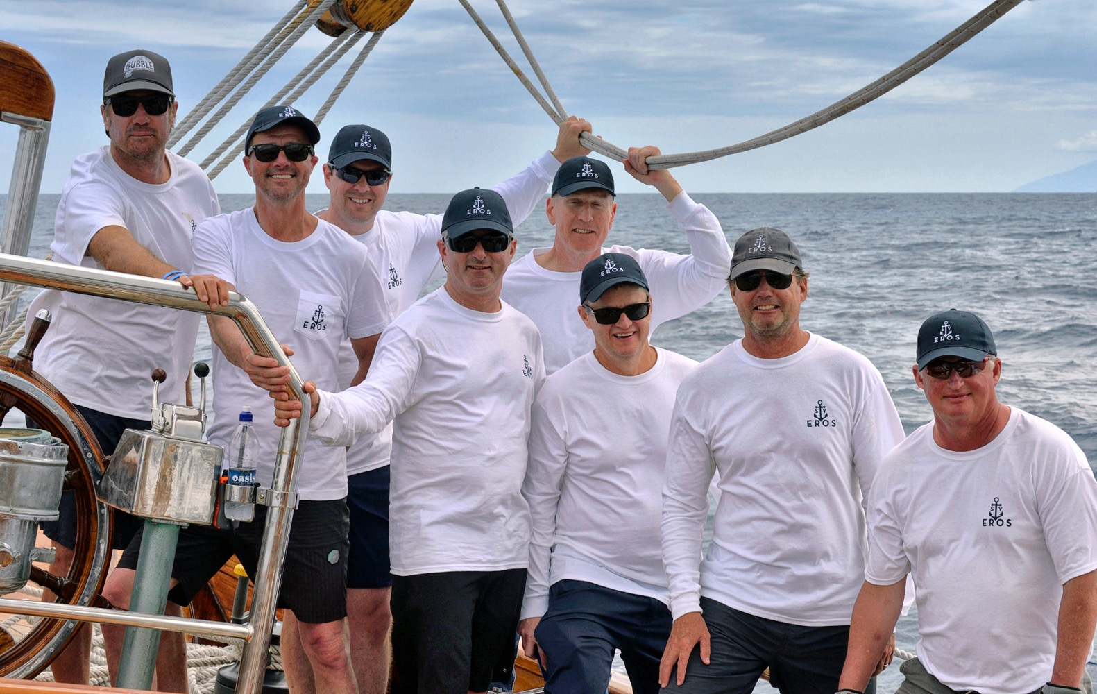 Eight charter guests joined Eros' crew and raced four days straight.