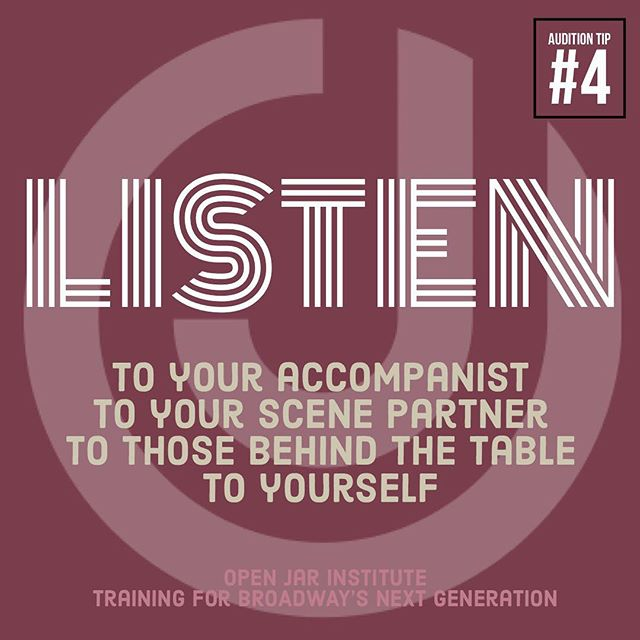 Our next audition tip helps us not only in the audition room but also in life. We need more people who focus on listening and not just talking (or singing). You'll be more powerful and convincing if you truly LISTEN! #openjarinstitute #auditiontips