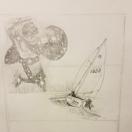 """The first sketch of the constellation and ORION sailing. We decided it looked a little too """"much""""."""