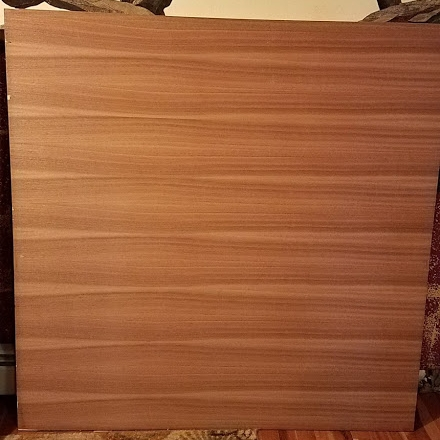 Will purchased a beautiful piece of half-inch marine-grade, sapele mahogany ribbon strip with birch core plywood.