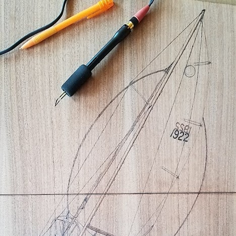 Mast, rigging, and sails completed on the top hatchboard.
