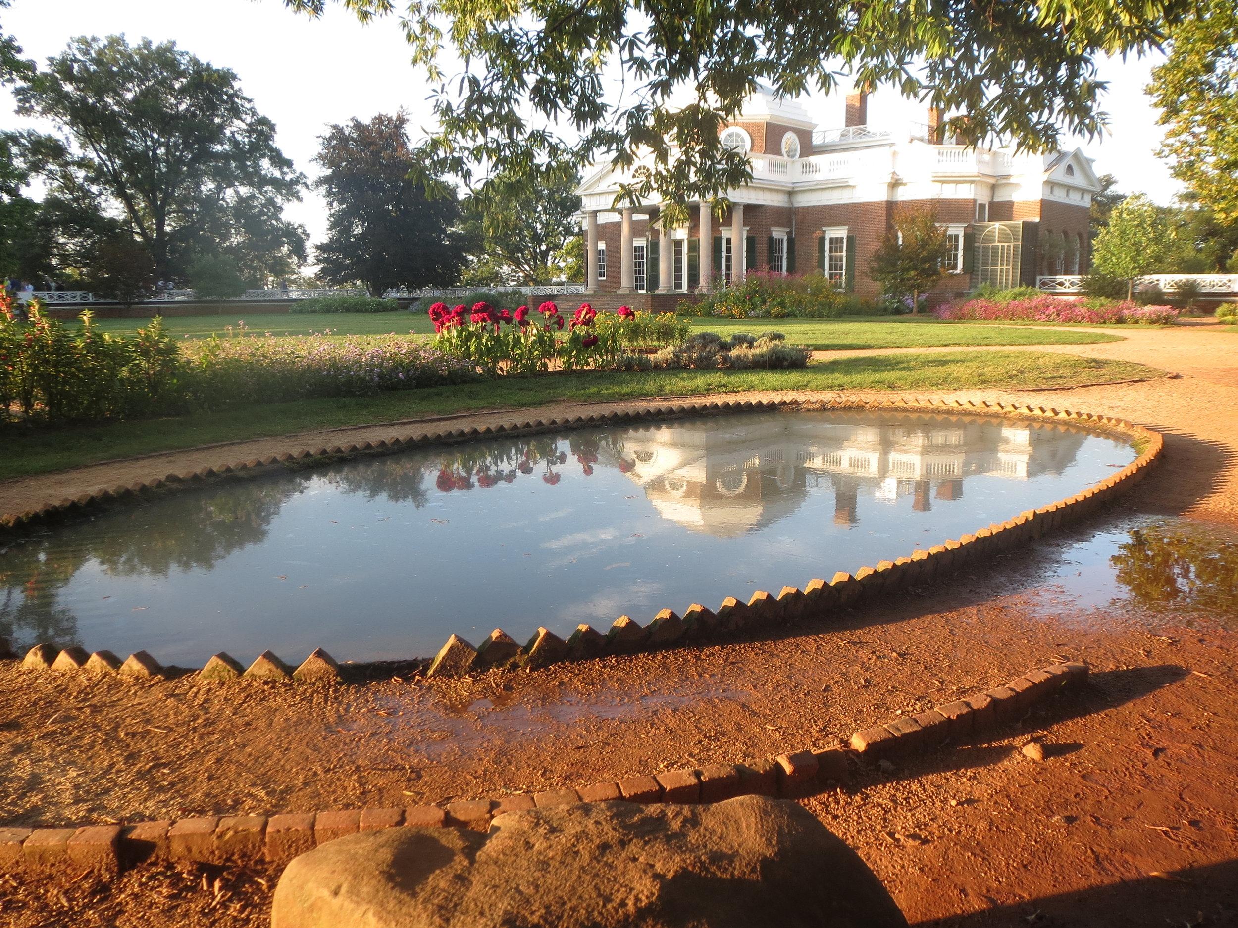 Monticello's West Portico In Fish Pond