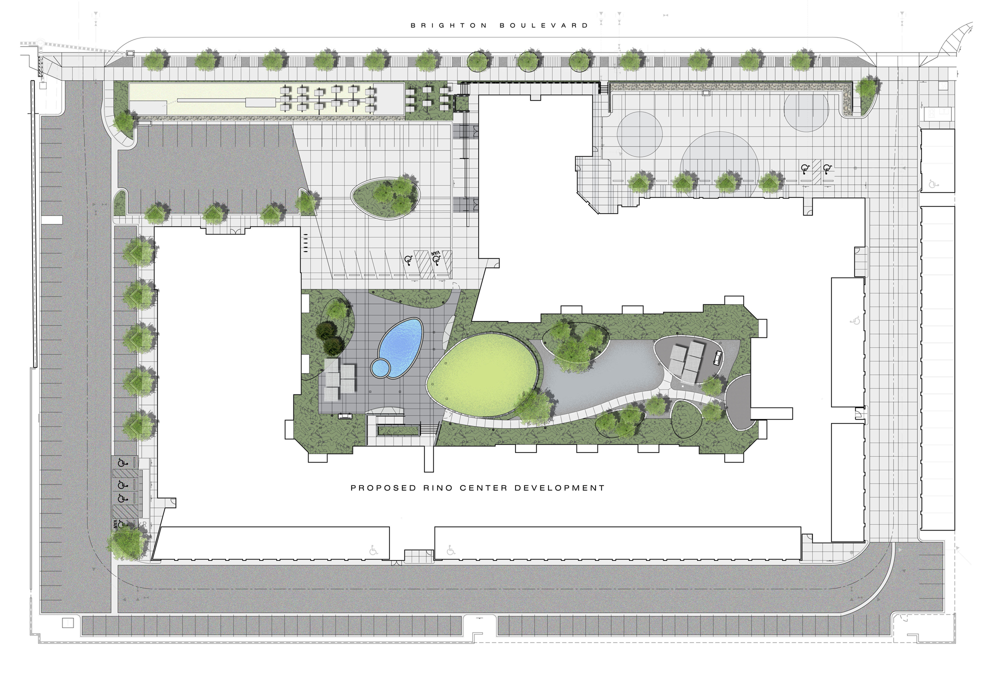 """<img src="""" studioINSITE_Block_32_Site Illustrative Plan """"alt=""""Urban Living, Multifamily Courtyard, Amenity Deck, Fire Pit, Grill Area, Shade Structure, Zen Garden, Infinity Pool,  Landscape Architecture,Denver, CO, Colorado Courtyards, Amenity Spaces, Great Courtyard Designs, RiNO Neighrborhood"""" title=""""Block 32 at RiNO""""/>"""