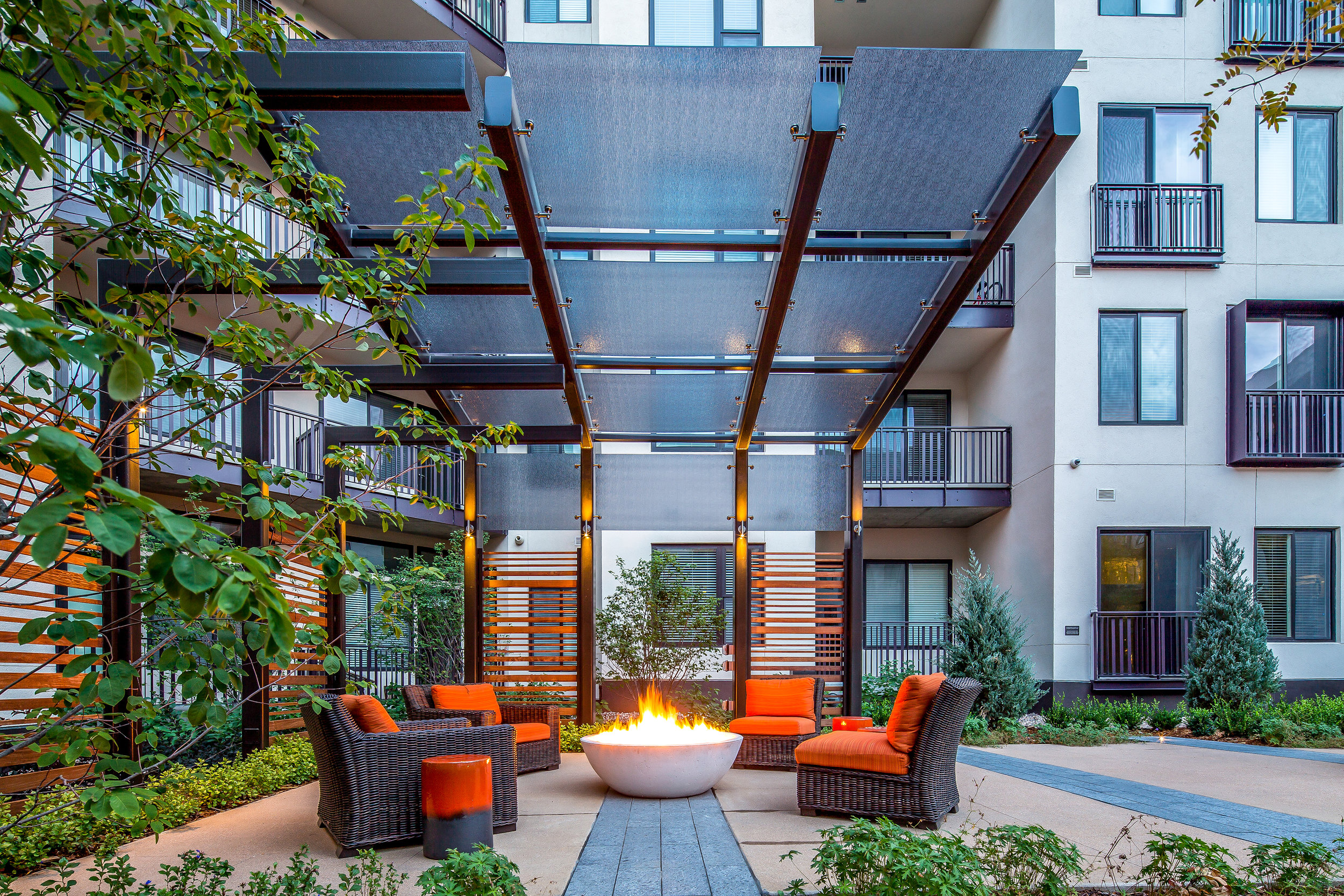 """<img src="""" studioINSITE_The_Douglass_Firepit_Seating-2 """"alt=""""Urban Living, Multifamily Courtyard, Amenity Deck, Fire Pit, Grill Area, Shade Structure, Fireplace, Landscape Architecture, Luxury Living, the Douglas, Denver, CO, Colorado Courtyards, Amenity Spaces, Great Courtyard Designs  """" title=""""The Douglas  """"/>"""