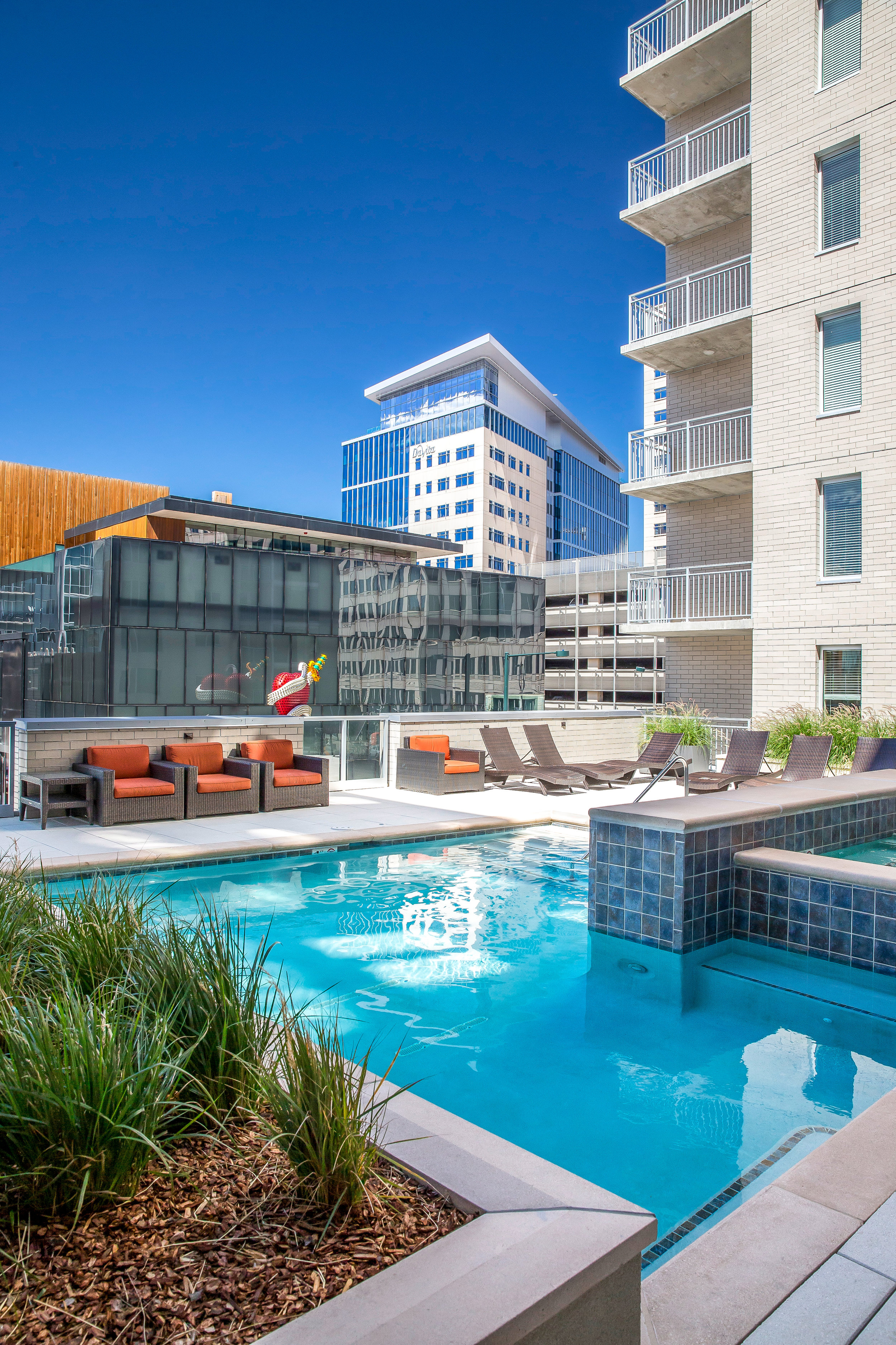 """<img src="""" studioINSITE_The_Verve_Pool_Deck-3 """"alt=""""Urban Living, Multifamily Courtyard, Amenity Deck, Fire Pit, Grill Area, Shade Structure, Outdoor Garden,  Landscape Architecture, Luxury Living, the Douglas, Denver, CO, Colorado Courtyards, Amenity Spaces, Great Courtyard Designs"""" title=""""The Verve""""/>"""