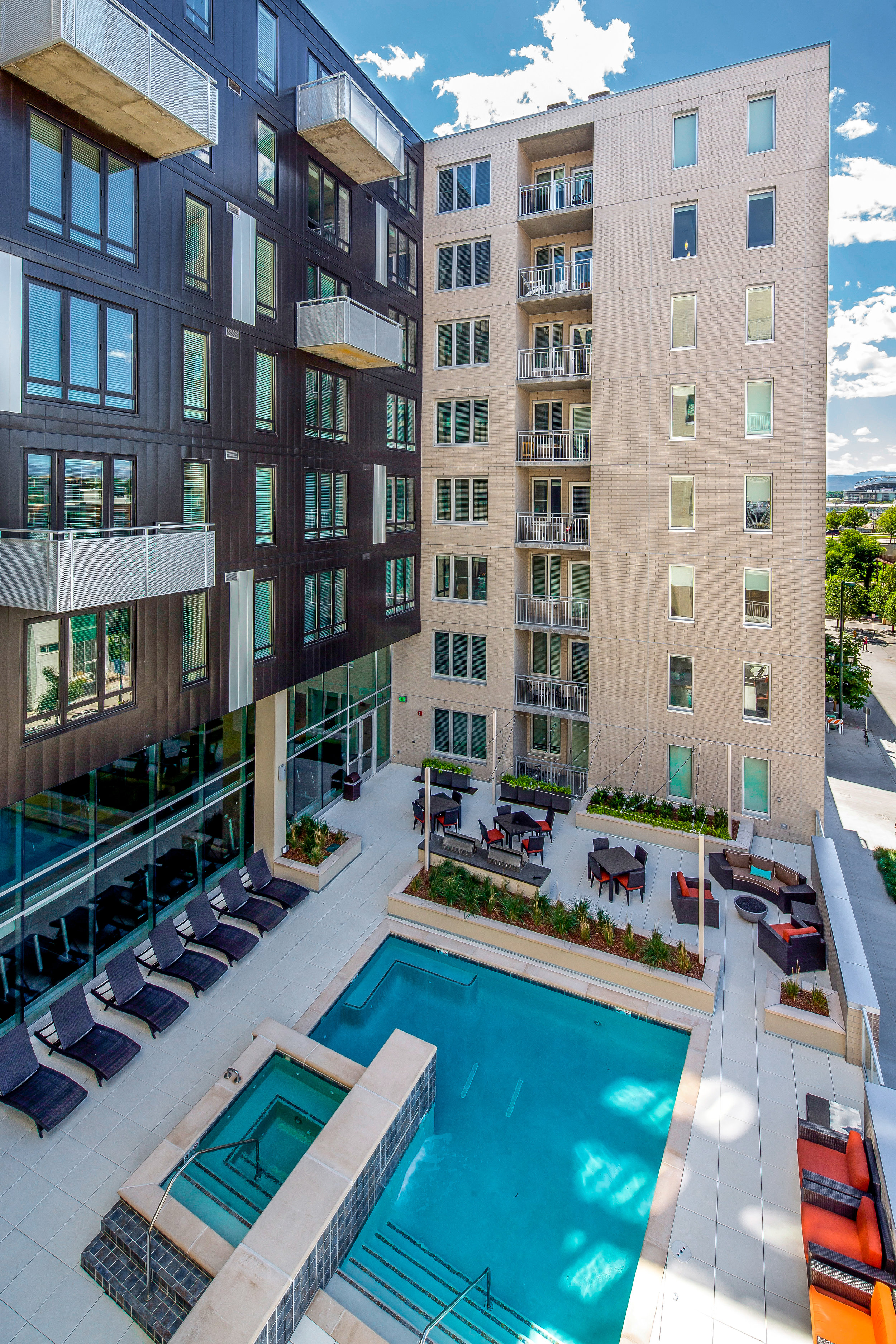 """<img src="""" studioINSITE_The_Verve_Pool_Deck-2 """"alt=""""Urban Living, Multifamily Courtyard, Amenity Deck, Fire Pit, Grill Area, Shade Structure, Outdoor Garden,  Landscape Architecture, Luxury Living, the Douglas, Denver, CO, Colorado Courtyards, Amenity Spaces, Great Courtyard Designs"""" title=""""The Verve""""/>"""