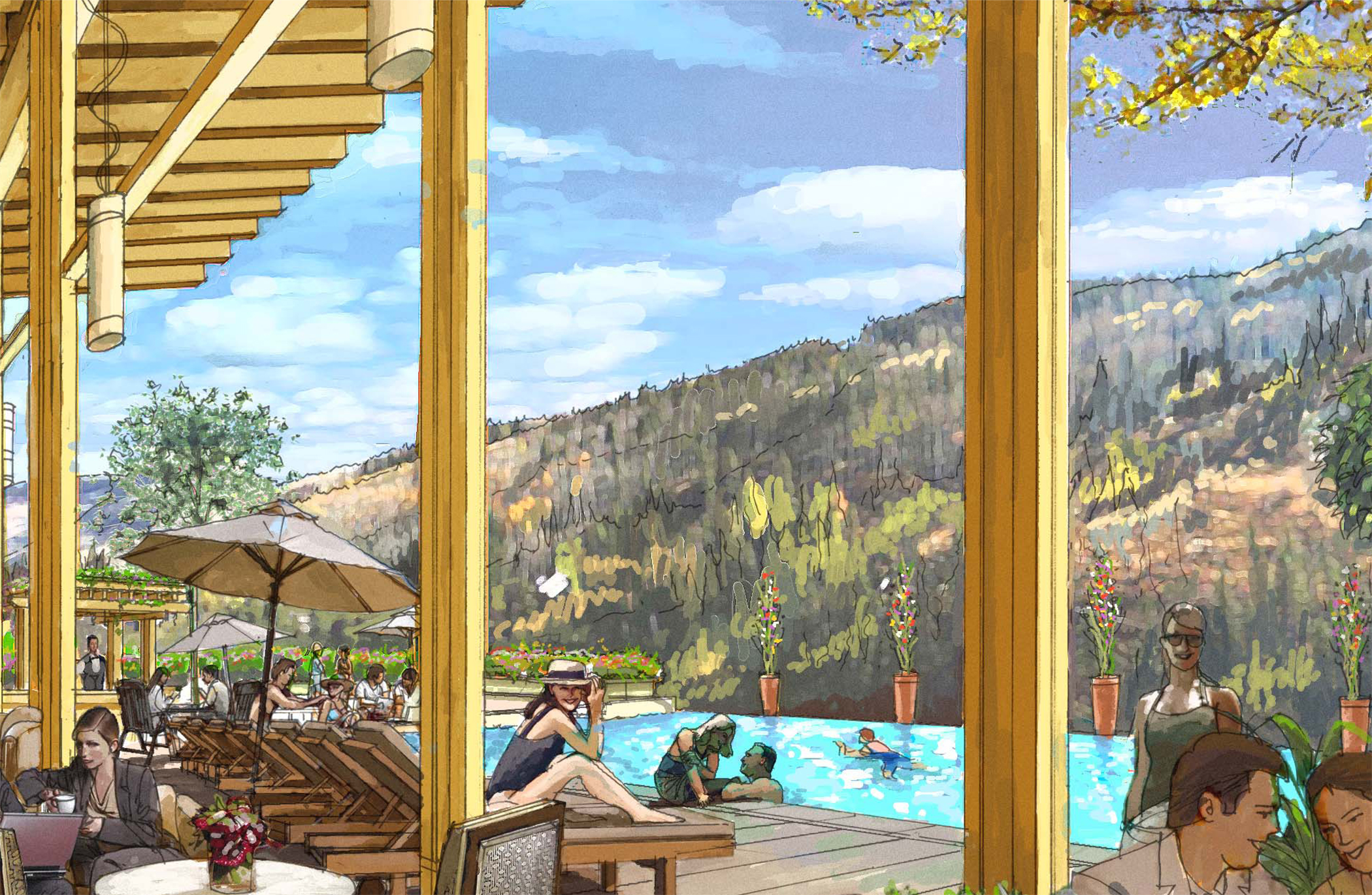 """<img src="""" studioINSITE_Ever_Vail_poolside """"alt=""""Vail, Mountain Commnity, Ever Vail, Sking, Snowboarding, Mountain Living, Planning, Landscape Architecture, Mountain Resort, Rocky Mountains, Winter,  """" title=""""Ever Vail""""/>"""
