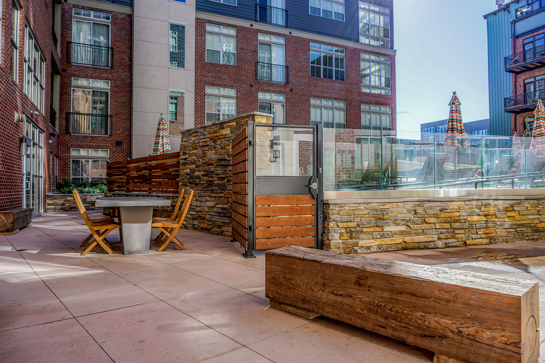 """<img src="""" studioINSITE_The_Douglas_Firepit_Seating """"alt=""""Urban Living, Multifamily Courtyard, Amenity Deck, Fire Pit, Grill Area, Shade Structure, Fireplace, Landscape Architecture, Luxury Living, the Douglas, Denver, CO, Colorado Courtyards, Amenity Spaces, Great Courtyard Designs  """" title=""""The Douglas  """"/>"""