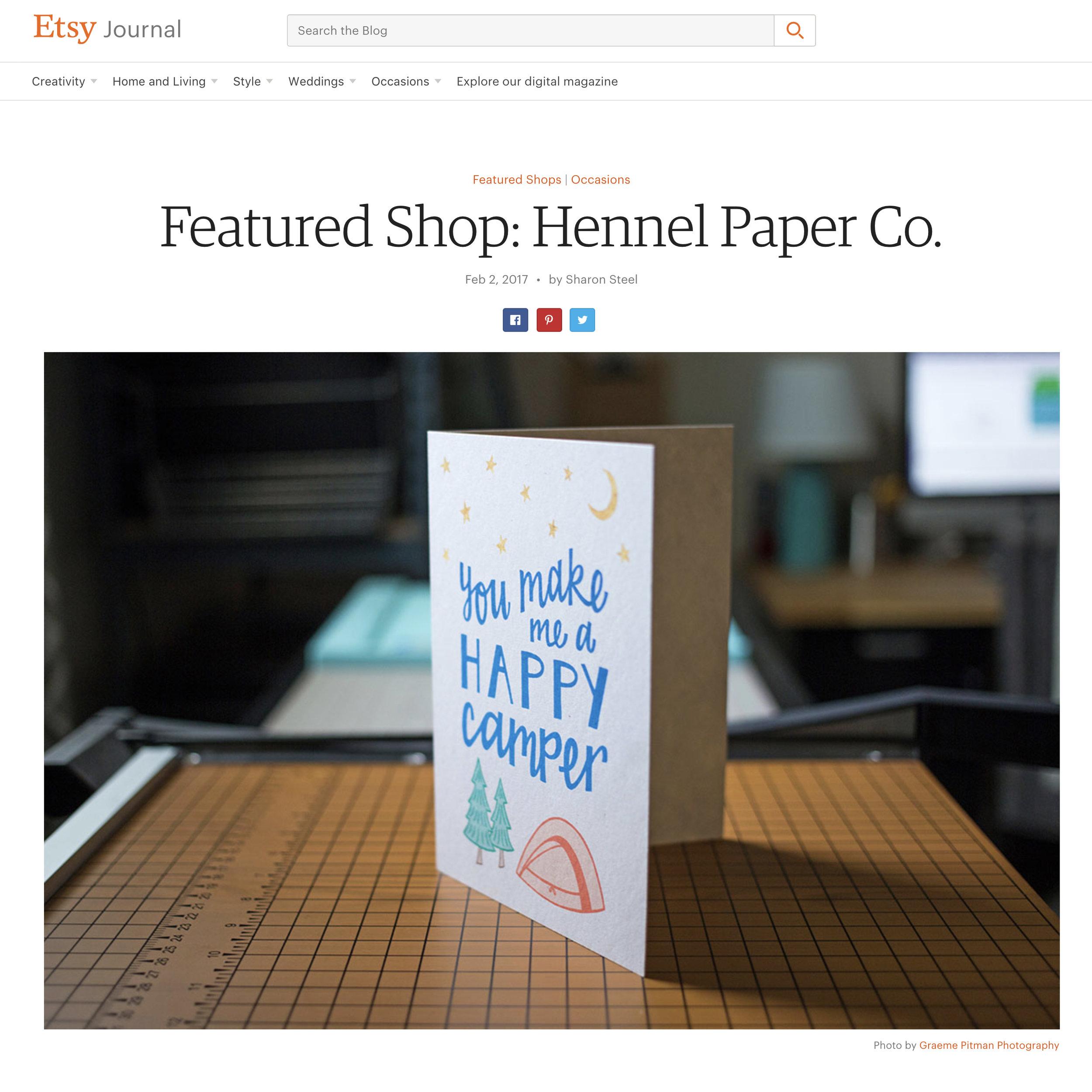 Etsy Shop Feature