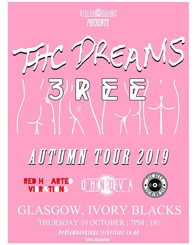 GLASGOW we've got a last minute show in Ivory Blacks supporting @thcdreamsband and @3reeofficial alongside @rhvibrations and @thedeepshiningsea  Thanks to @bedlambookings for having us on!  Ticket link in the comments 👇👇