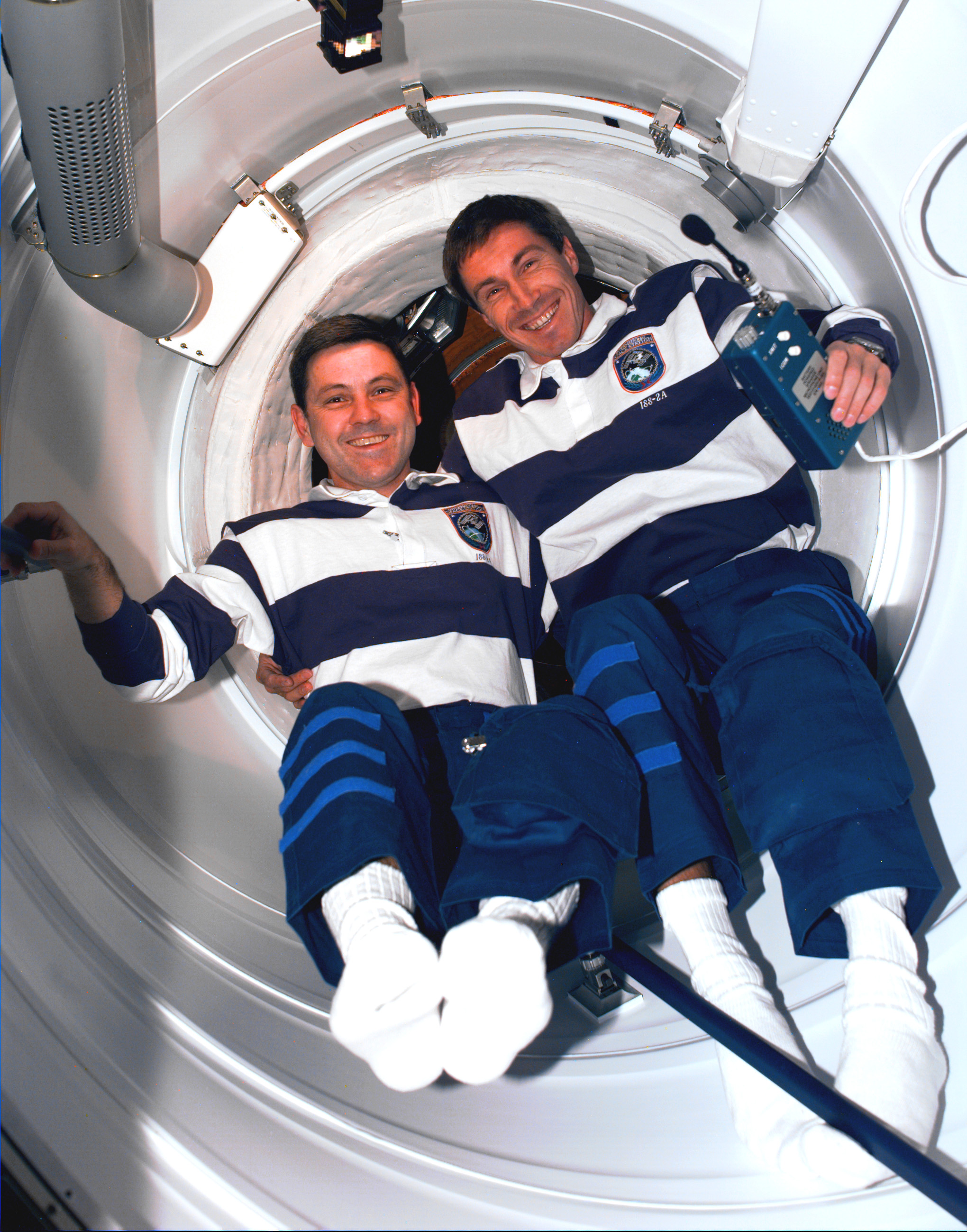 Astronaut Bob Cabana (left) and Cosmonaut Sergei Krikalev were the first people to enter the embryonic station in December 1998. Photo credit: NASA.