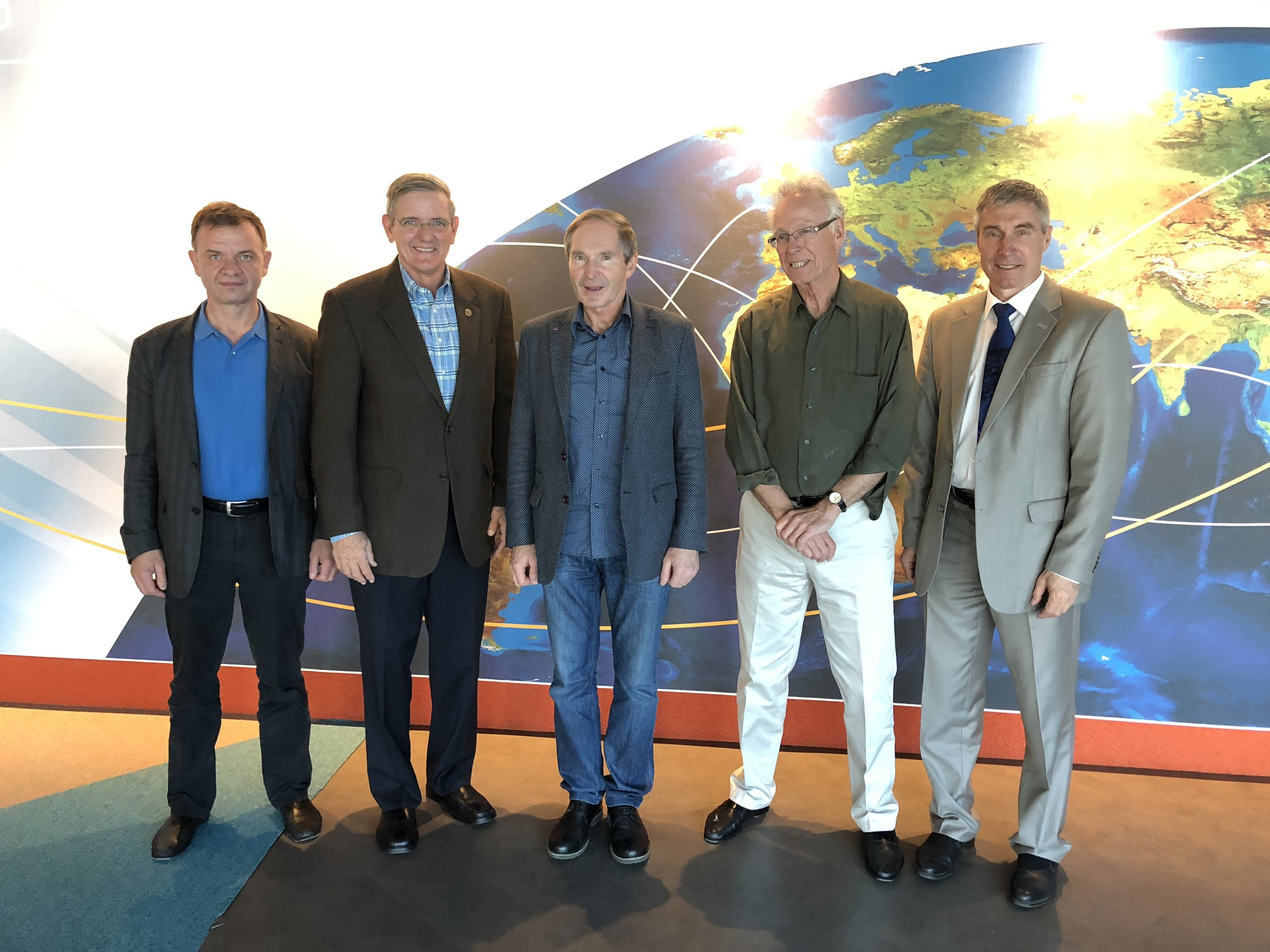 International Space Station veterans Yuri Gidzenko, Bill McArthur, Valeri Tokarev, Greg Olsen and Sergei Krikalev at the 30th Association of Space Explorers meeting at Cite de l'Espace, Toulouse, France.