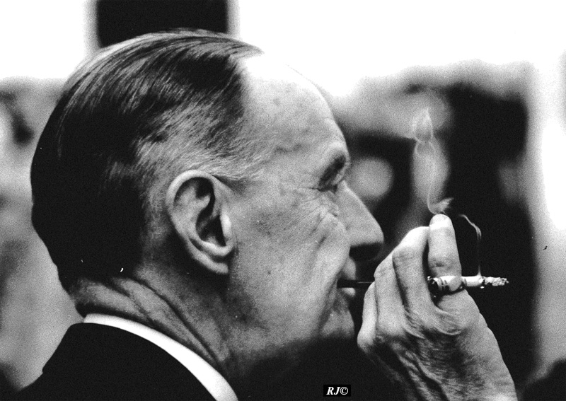 Kenneth Clark with cigarette, Metropolitan Museum, 1958