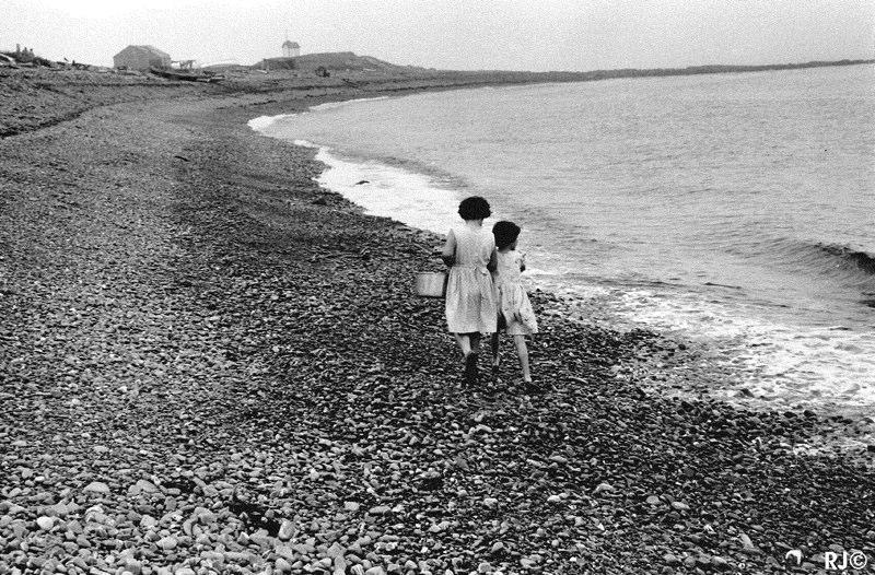 Two girls on beach - Gaspé, 1954