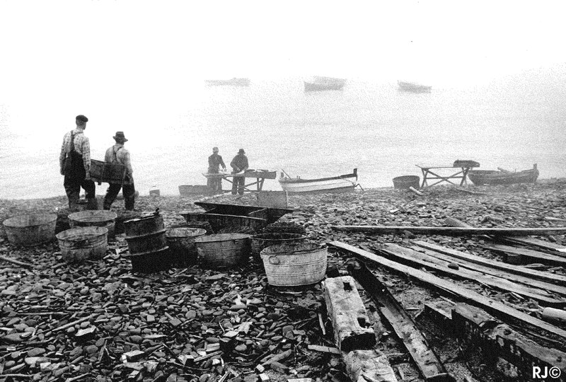 Fishermen on beach - Gaspé, 1954