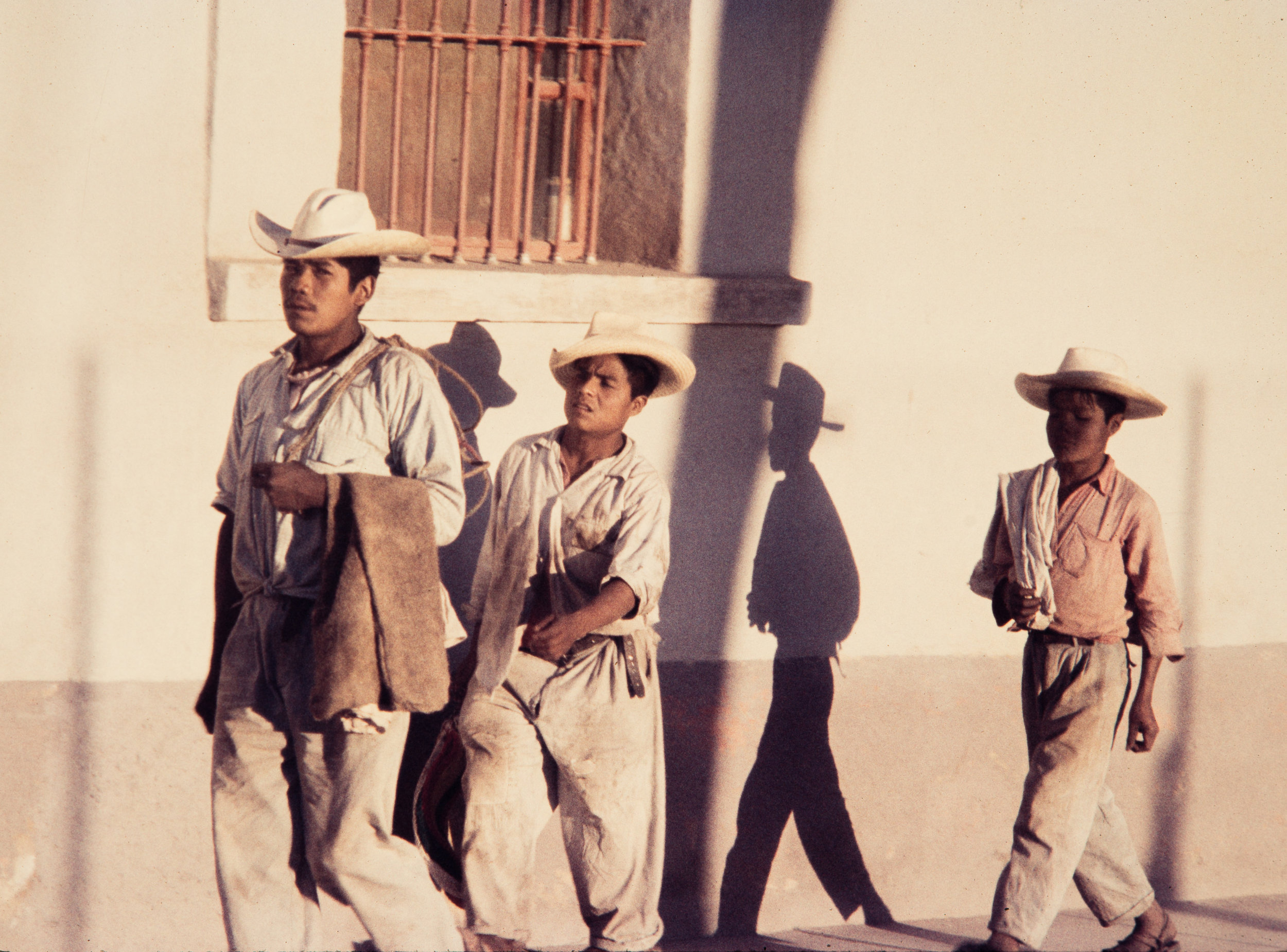 Three men with sombrero hats, Mexico, 1957
