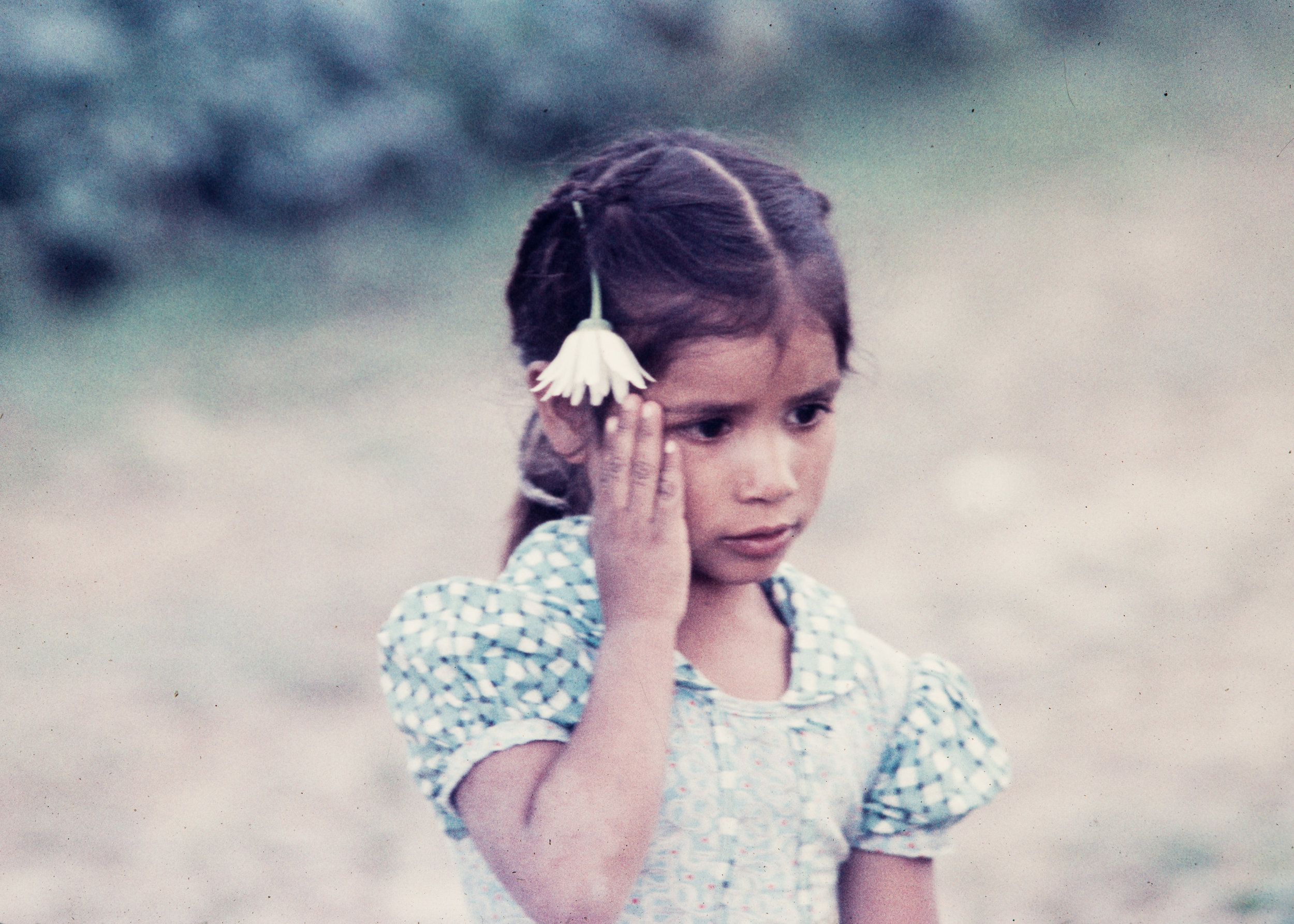 Young girl with white flower, Mexico, 1957