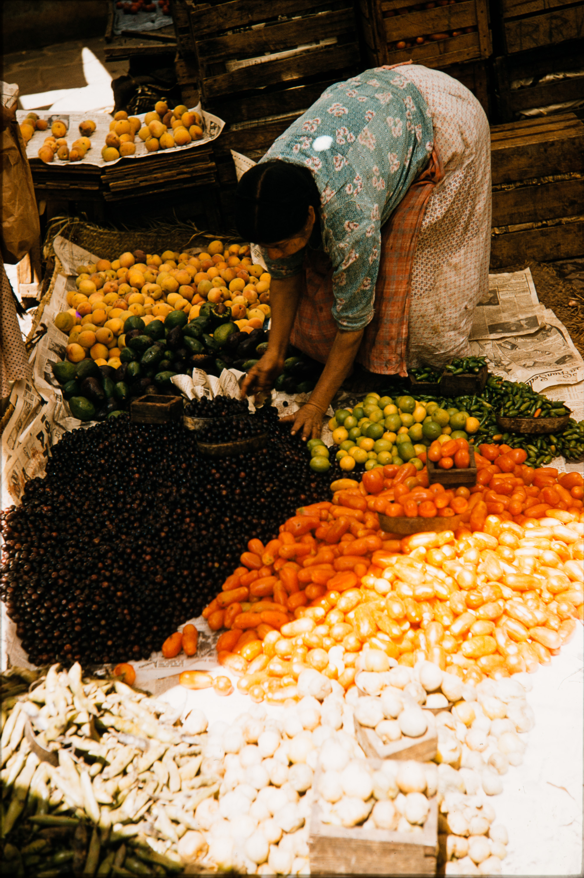 Woman sorting vegetables, Mexico, 1957