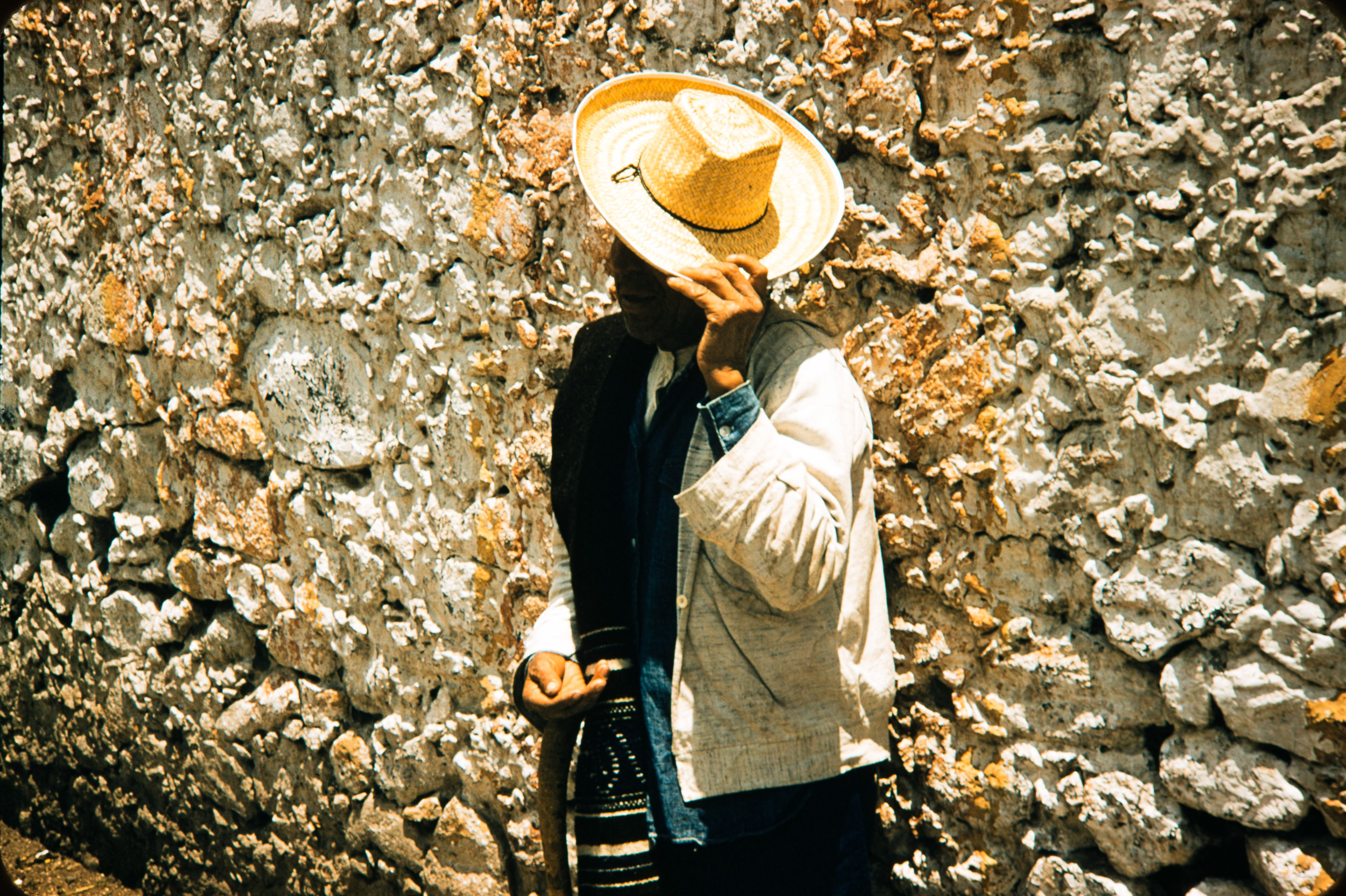 Man with hat over face, Mexico, 1957