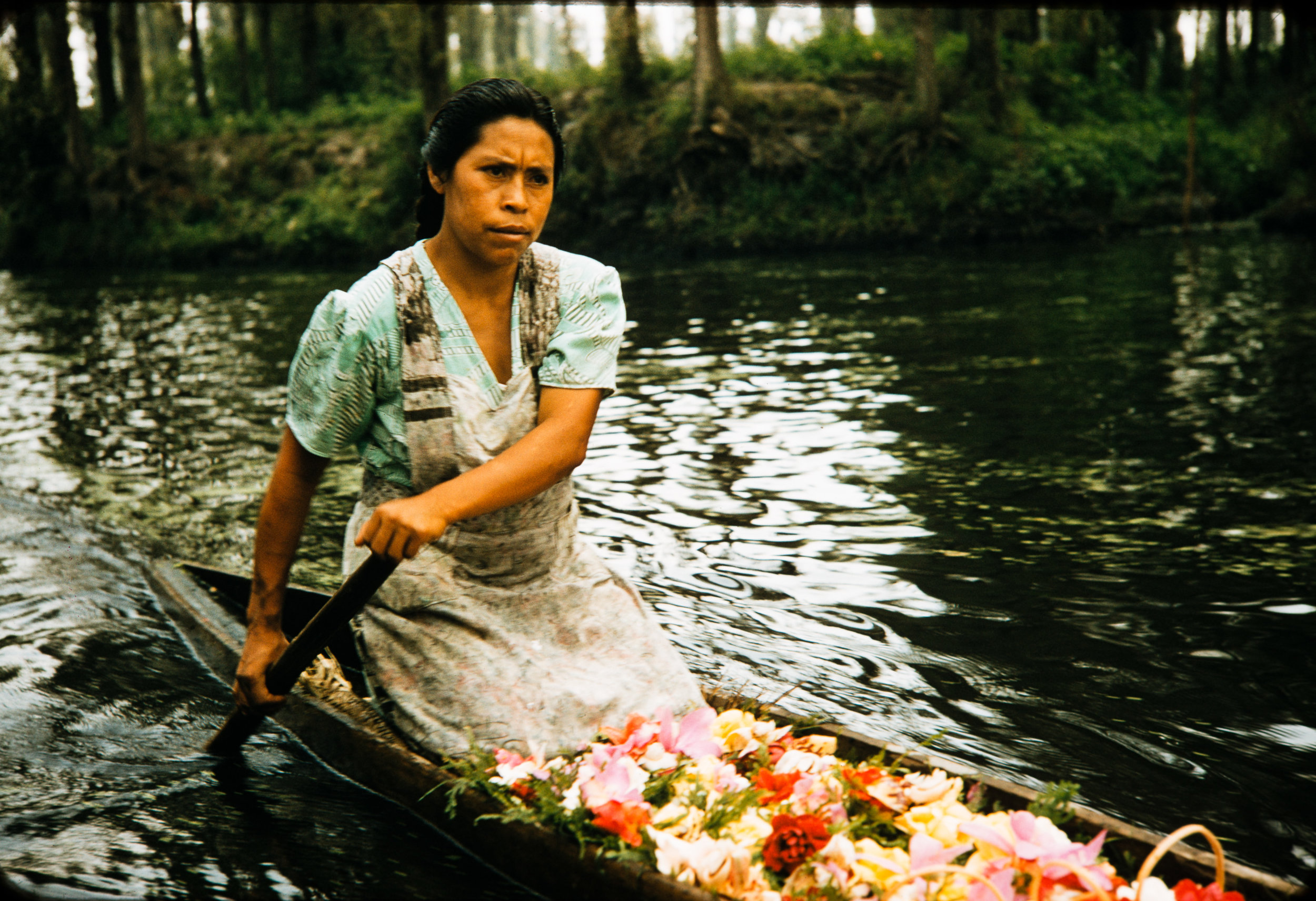 Woman in canoe, Mexico, 1957