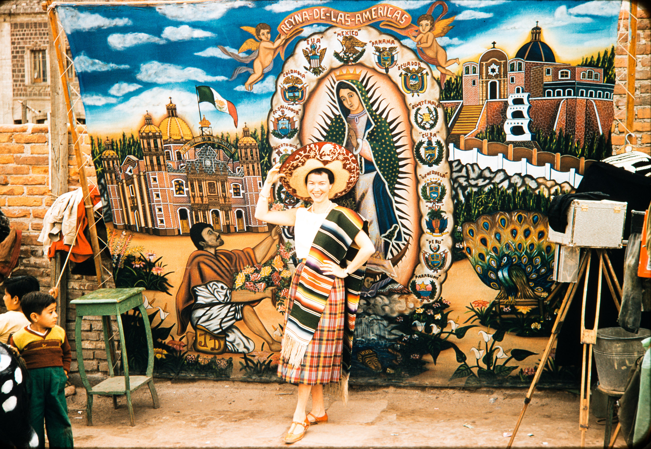 Eleanor Jacobs in Mexican garb, Mexico, 1957