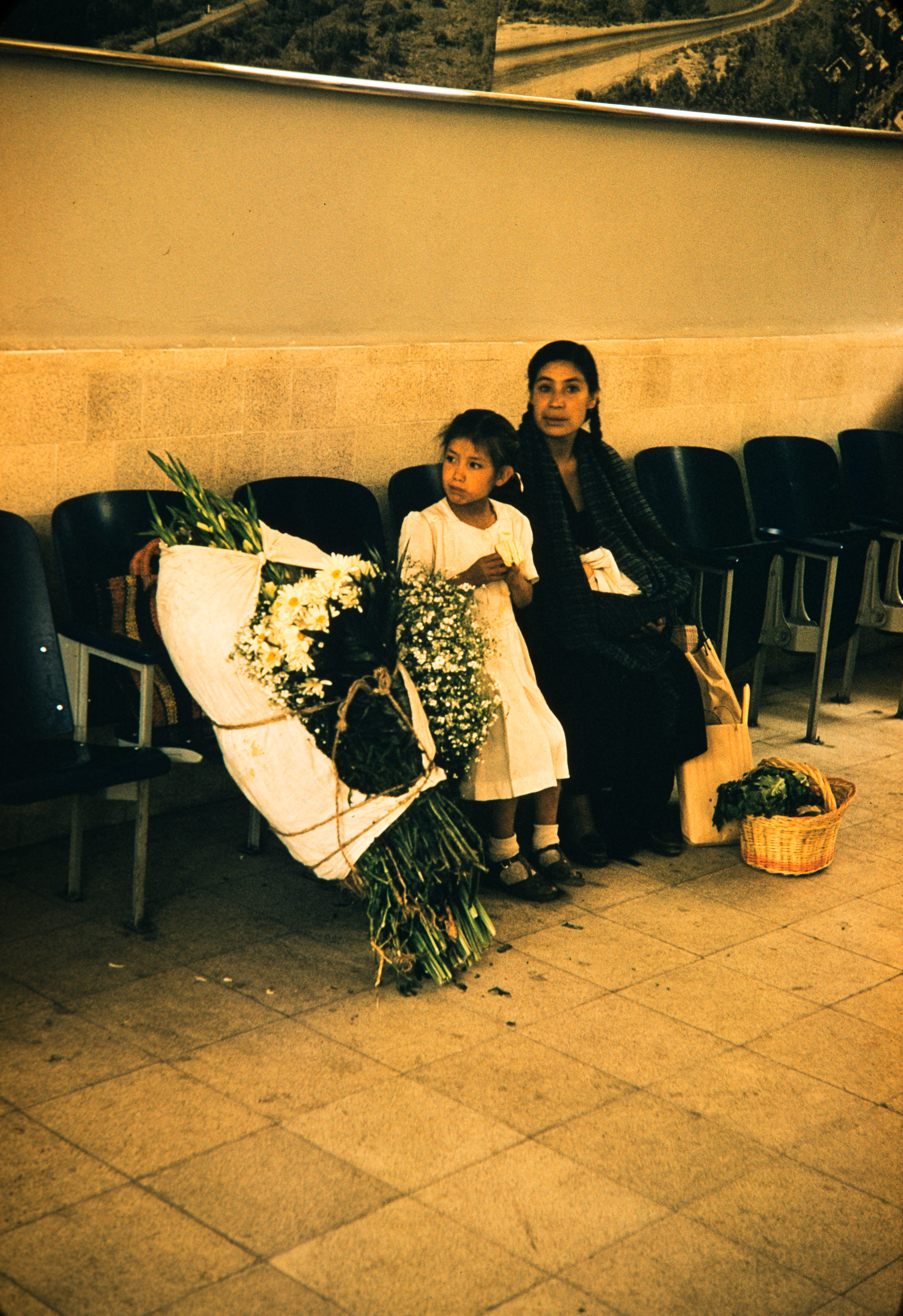 Girl, mom, flowers, Mexico, 1957