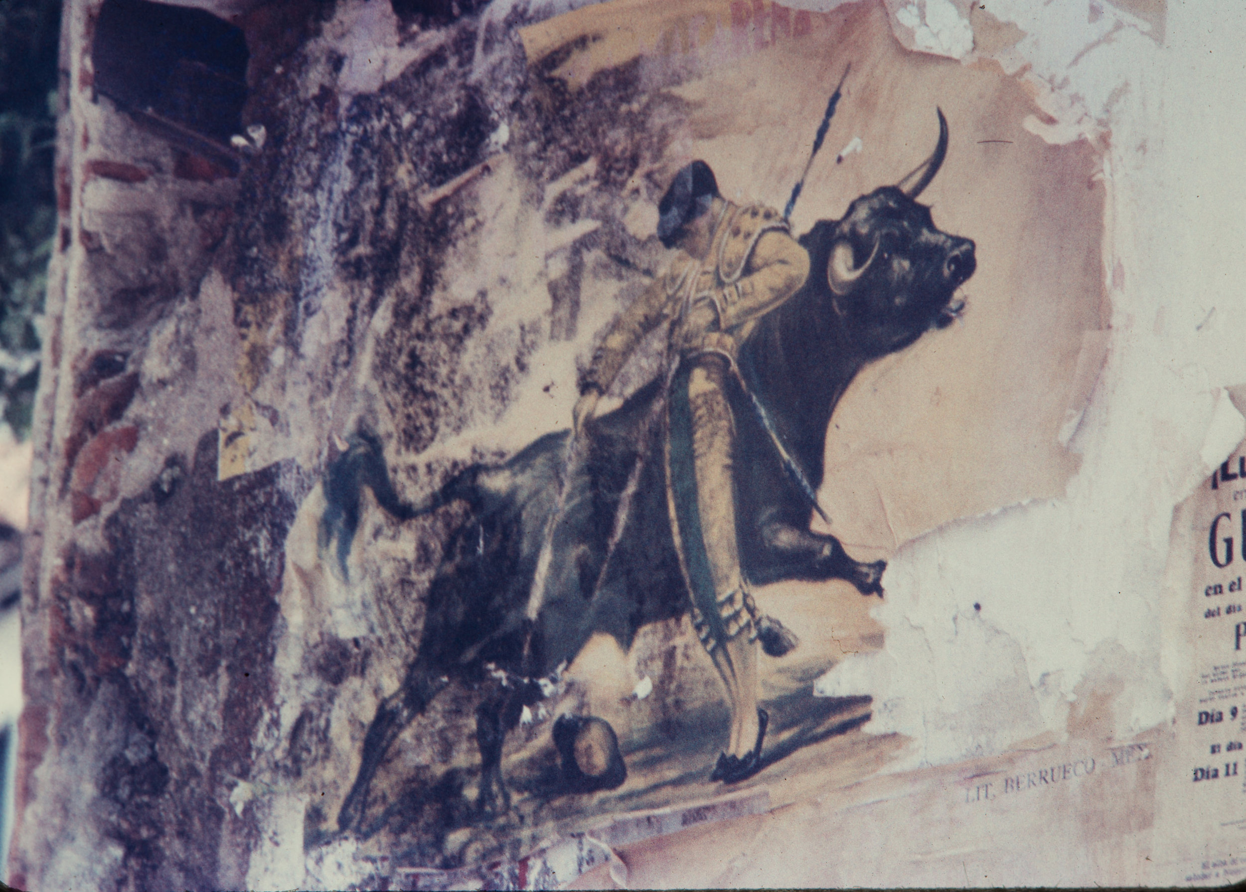 Bullfight mural, Mexico, 1957