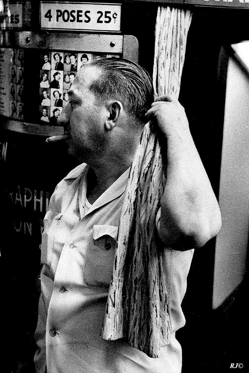 Man with cigarette, Coney Island, 1954