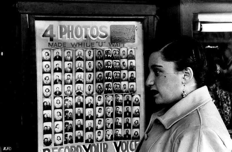 Instant photo machine, Coney Island, 1952