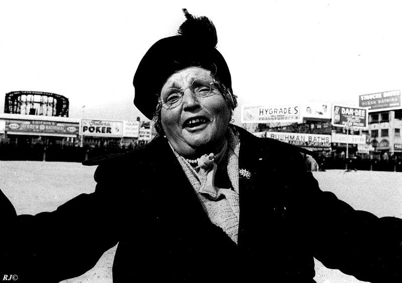 Woman singing, Coney Island, 1952