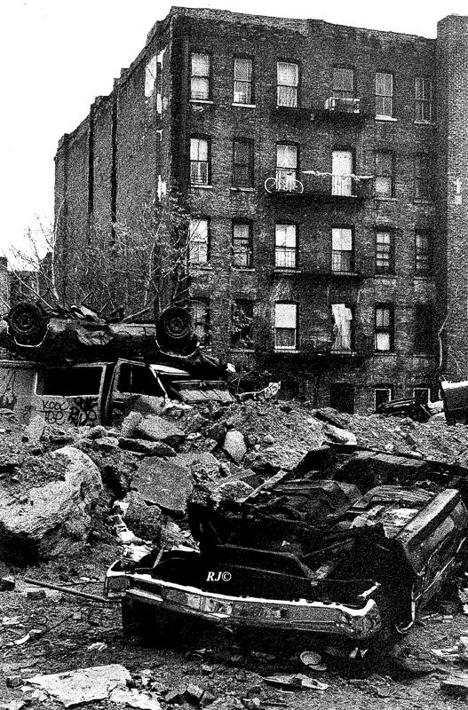 Smashed cars, Harlem, 1953