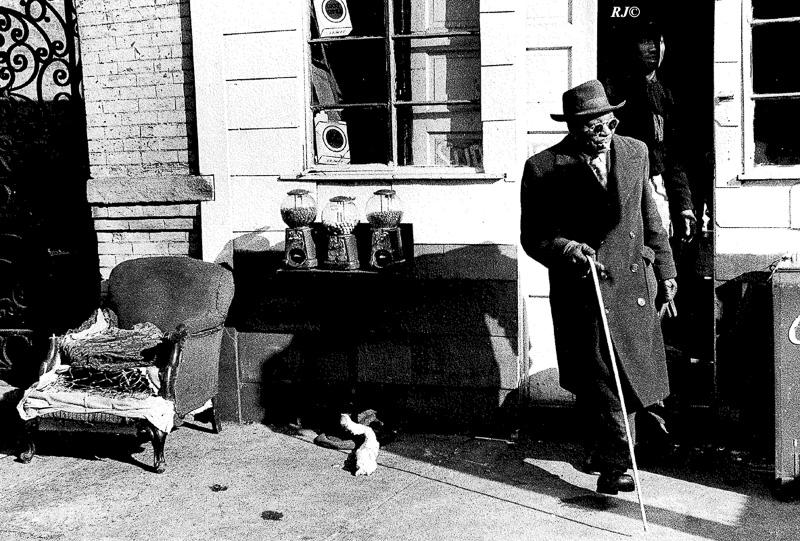 Gumball machines on table, Harlem, 1952