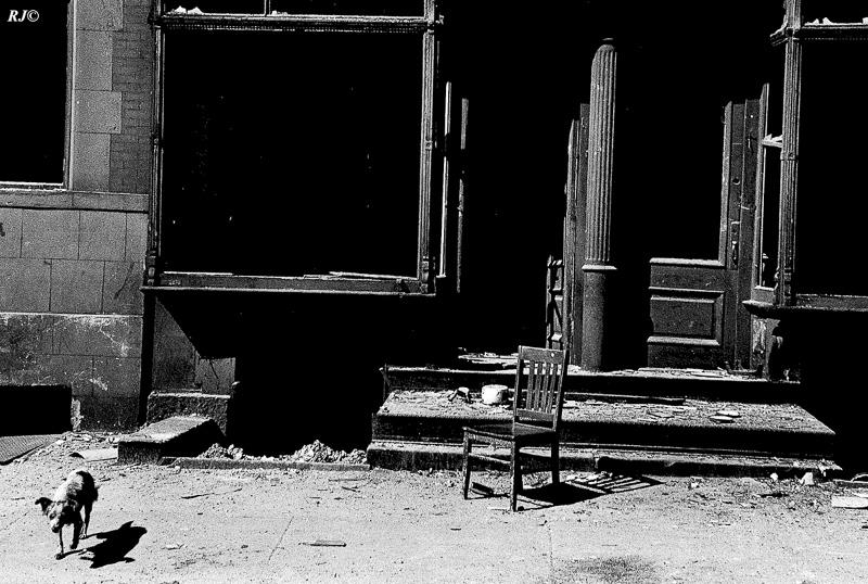 Chair on street, Harlem, 1953