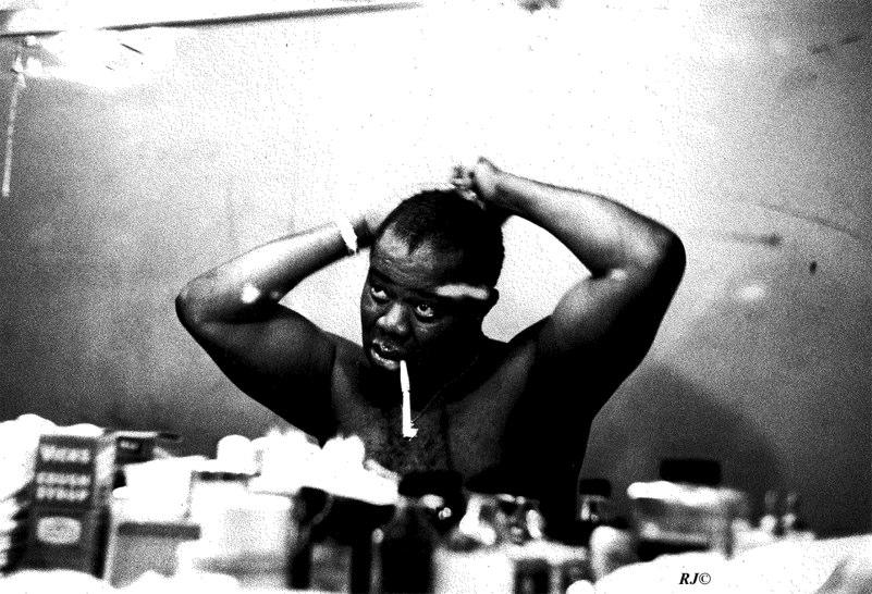 Doing hair in dressing room, Basin Street East, 1954