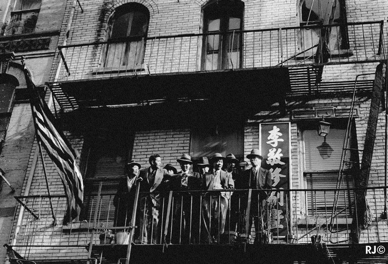 On the fire escape, Chinese New Year, 1953