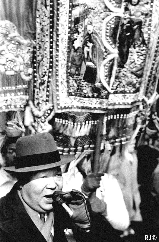 Man with Chinese flag, Chinese New Year, 1953