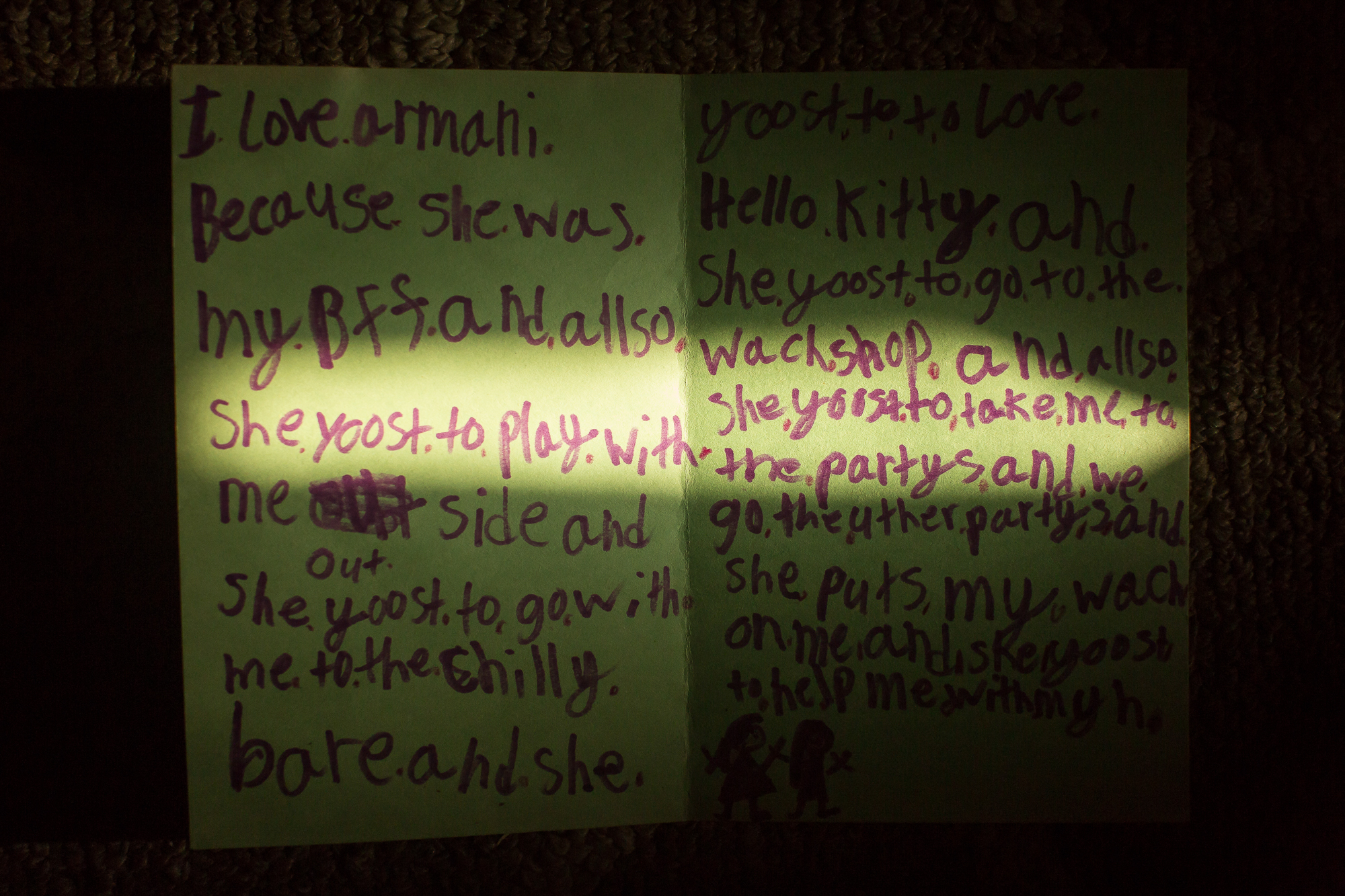 Ashley Nichole's daughter, Alayah, wrote a letter about how she missed her friend Armani.