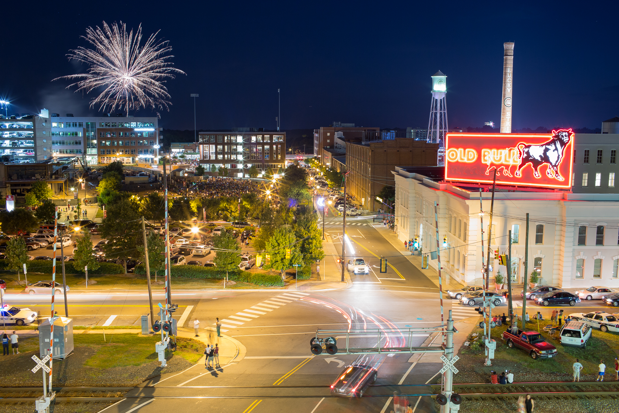 Fireworks burst over the Durham Bulls Athletic Park in revitalized downtown Durham, N.C. on Independence Day, July 4, 2014.