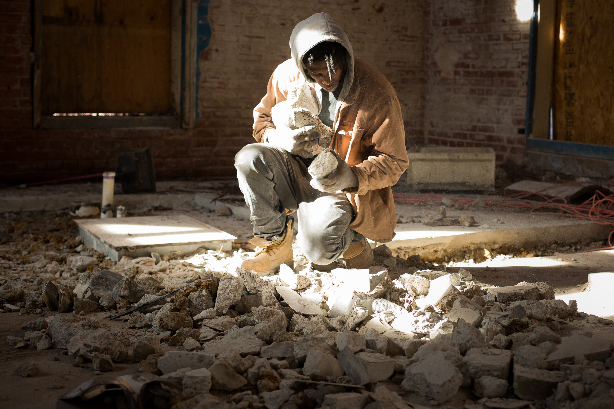 In 2015, Rashard helps demolish and renovate an old restaurant into a new coffee shop in Durham. He began to piece his life back together as he worked on a construction crew with New Beginnings, a faith-based nonprofit that helps the recently incarcerated find work and stability. Most people with felony records are limited to construction and manual labor.