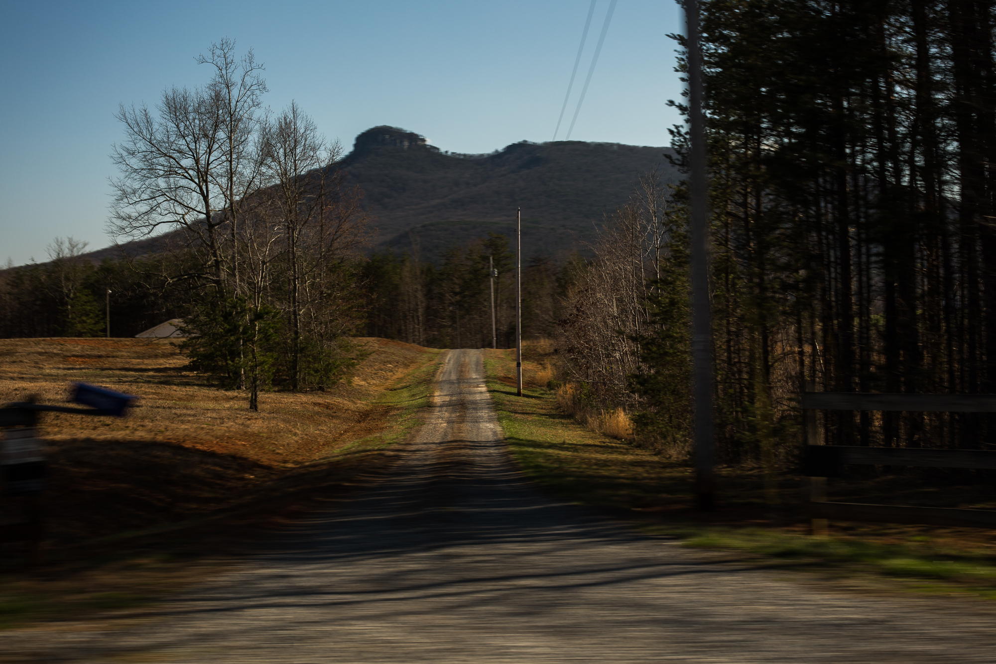 Pilot Mountain overlooks Mount Airy and Dobson, N.C. in rural Surry County.