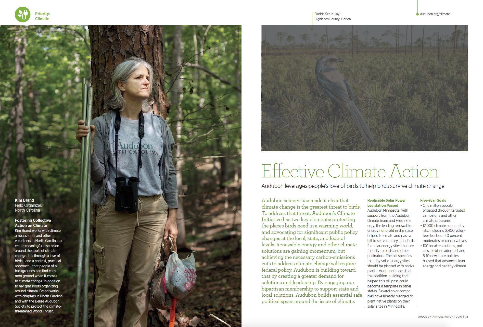 Inside spread of the 2016 Audubon Annual Report.