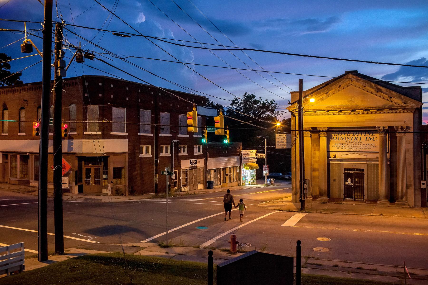Sunset over Driver Street East Durham North Carolina